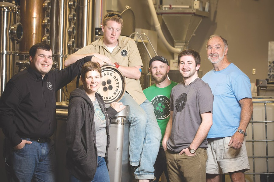 The team at Black Button Distilling includes: Jason Barrett, Nicole Noce, Tom Stock, - Derek Carlson, Zach Cedruly, William Mayes. - PHOTO BY MIKE HANLON