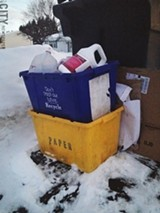 PHOTO BY CHRISTINE CARRIE FIEN - The two-box recycling system may be history soon. Your back says thank you.