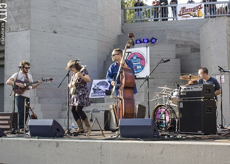 "The Younger Gang played in the Manhattan Square bowl as part of ""Friday on the Fringe."" - PHOTO BY ASHLEIGH DESKINS"
