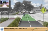 This conceptual drawing shows what the proposed Elmwood-College Town cycle track could look like, though it'll be located on the side of Elmwood opposite what's pictured here. - RENDERING COURTESY CITY OF ROCHESTER