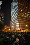 Thousands flocked to Manhattan Square Park for the Bandaloop performance.