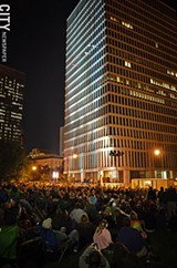 PHOTO BY MATT DETURCK - Thousands flocked to Manhattan Square Park for the Bandaloop performance.