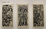 """PHOTO PROVIDED - Three massive woodcut prints by Mike Houston of Cannonball Press are part of the """"Dirty Dozen: The Outlaw Printmakers"""" exhibit currently on view at Rochester Contemporary."""