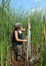 TNC seasonal staffer Erica Burgeson was part of a crew that recorded conditions at Buck Pond this past summer. - PHOTO BY KATIE LITTLE / COURTESY THE NATURE CONSERVANCY