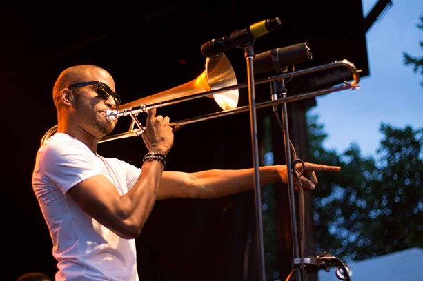 Trombone Shorty performed Saturday, June 29, at the East/Alexander Stage as part of the 2013 Xerox Rochester International Jazz Festival. - PHOTO BY WILLIE CLARK