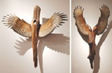 "PHOTOS PROVIDED - Two pieces from the ""Nike of the Forest"" series by Jason Tennant. The sculptor scavanges fallen American chestnut pieces for the centers of these works, while the wings are carved from conifers."
