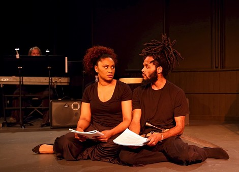 "Adryanna Elmendorf and Anderson Allen in ""Living in Exile."" - PHOTO BY ANNETTE DRAGON"