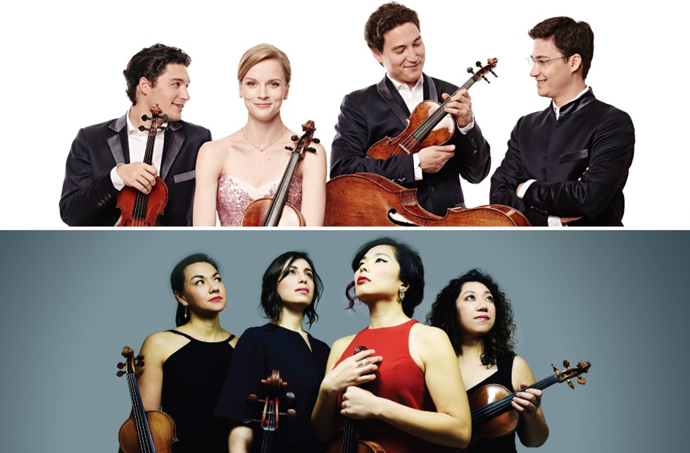 The Schumann Quartet (top) comes to Kilbourn Hall on February 23, while the Aizuri Quartet (bottom) performs on March 29 as part of the 2019-20 Eastman-Ranlet Series. - TOP PHOTO BY KAUPO KIKKAS; BOTTOM PHOTO BY SHERVIN LAINEZ