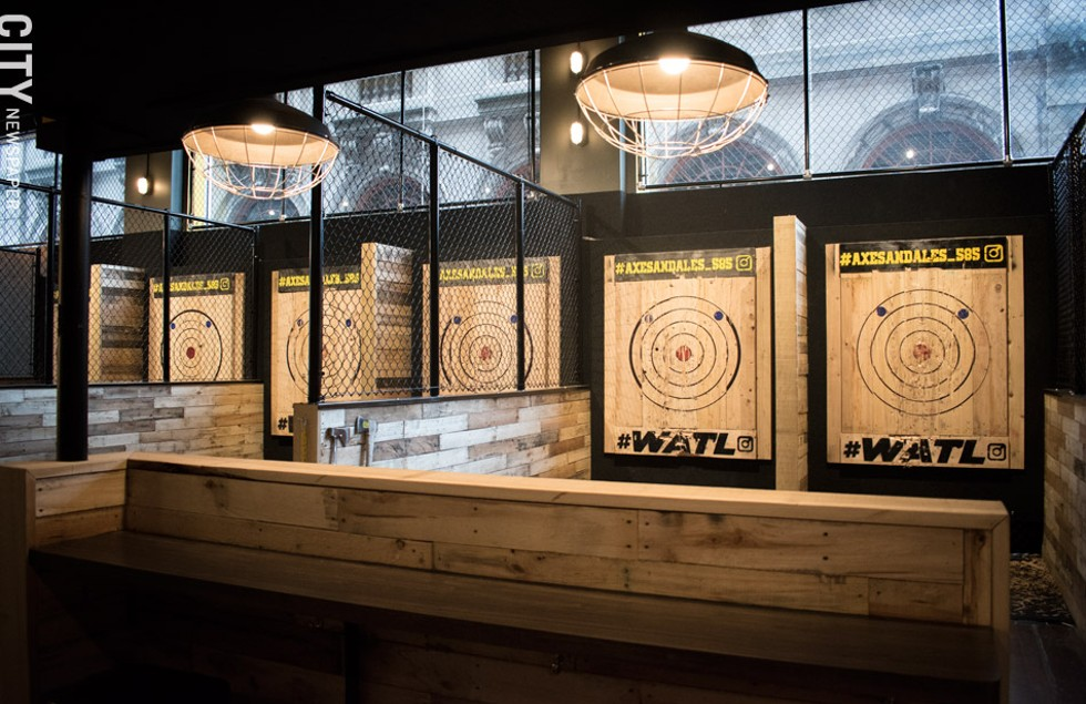 The throwing range at Axes & Ales. - PHOTO BY JACOB WALSH