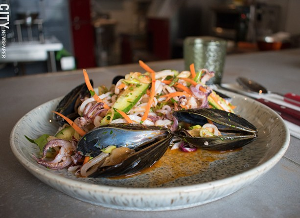 Calamari and mussel salad with spicy limoncello vinaigrette. - PHOTO BY JACOB WALSH