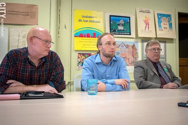 Green candidates (from left) Dave Sutliff-Atias, Chris Edes, and Alex White. - PHOTO BY RYAN WILLIAMSON