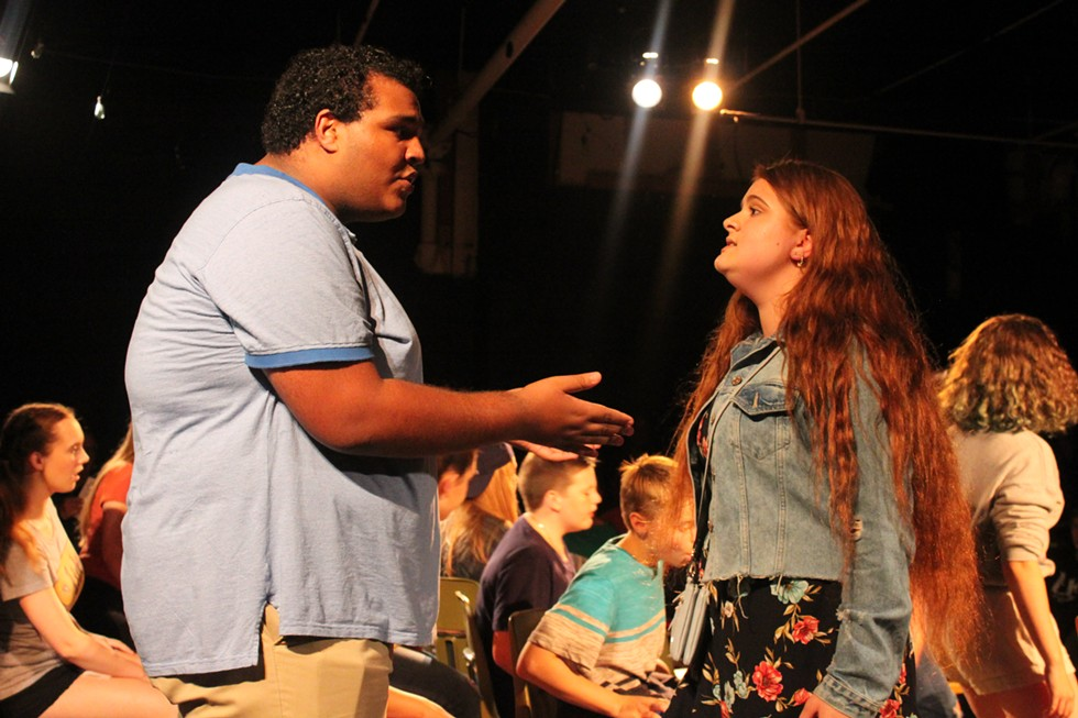 "Derek Scott and Amyalize Santiago in ""21 Chump Street."" - PHOTO BY KATHY LALUK"