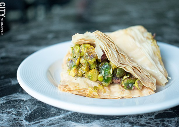 House-made baklava: flaky phyllo dough packed with pistachios and honey. - PHOTO BY JACOB WALSH