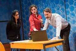"""Nikhar Kishnani, Marina Shay, and Ezra Barnes in Geva's production of """"Queen."""" - PHOTO BY RON HEERKENS JR. PHOTOGRAPHY"""
