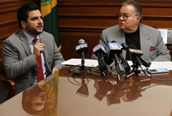 Monroe County Legislature Republican Majority Leader Brian Marianetti and legislature President Joe Carbone said that they first saw - proposed legislation that would limit the powers of County Executive-elect Adam Bello during at meeting of party members Tuesday at GOP Headquarters. - PHOTO BY MAX SCHULTE