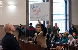"""Roc/ACTS President Gayle Harrison speaks out against a proposed county law that would make it a misdemeanor to intentionally """"annoy, alarm or threaten the personal safety of"""" a police officer or other first responder. - PHOTO BY JEREMY MOULE"""