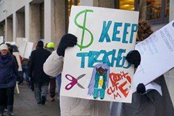 The Rochester Teachers Association organized a rally Thursday to protest proposed teacher layoffs. - PHOTO BY GINO FANELLI