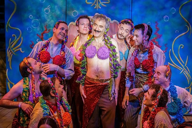 """The cast of Blackfriars Theatre's production of """"Peter and the Starcatcher,"""" with Stefan Cohen (as Black Stache) in the center. - PHOTO BY GOAT FACTORY MEDIA / RON HEERKENS JR."""