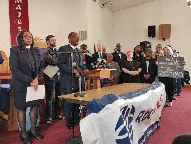 The Rev. James Simmons, right, and the Rev. Wanda Wilson, left, were among the speakers at a press conference today urging City Council  not to amend its Police Accountability Board legislation to allow former law enforcement officers to serve on the body. - PHOTO BY JEREMY MOULE
