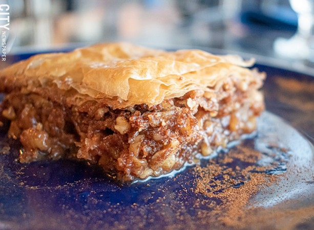 Cap the meal with a sticky, rich piece of baklava. - PHOTO BY JACOB WALSH