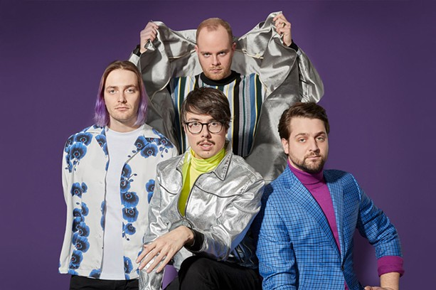 (Clockwise from left) Joywave's Paul Brenner, Benjamin Bailey, Jospeh Morinelli, and Daniel Armbruster play electronic rock with a sensibility that borders on self-parody. - PHOTO PROVIDED