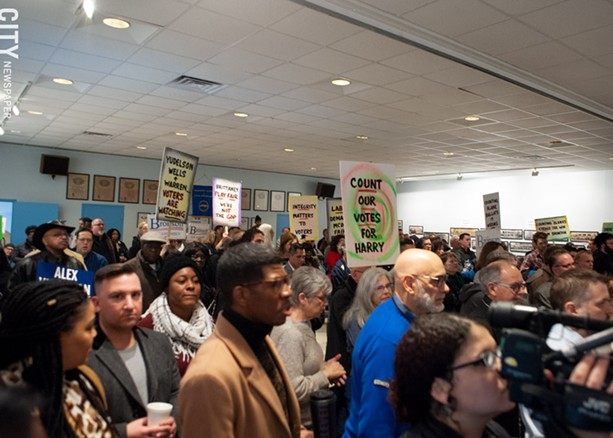 Democratic party loyalists gathered at the Monroe County Democratic Committee designating convention at Workers United Hall in Rochester on Saturday, February 1, 2020. - PHOTO BY JEREMY MOULE