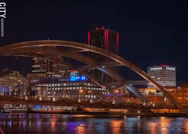 Downtown's lit-up buildings are visible from several neighborhoods. - PHOTO BY RYAN WILLIAMSON