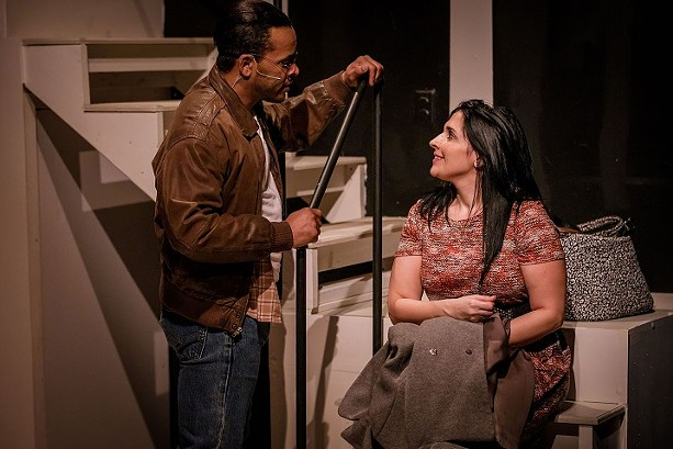 "J. Simmons and Janine Mercandetti as Dan and Diana in Blackfriars Theatre's ""Next to Normal."" - PHOTO BY RON HEERKENS JR PHOTOGRAPHY"