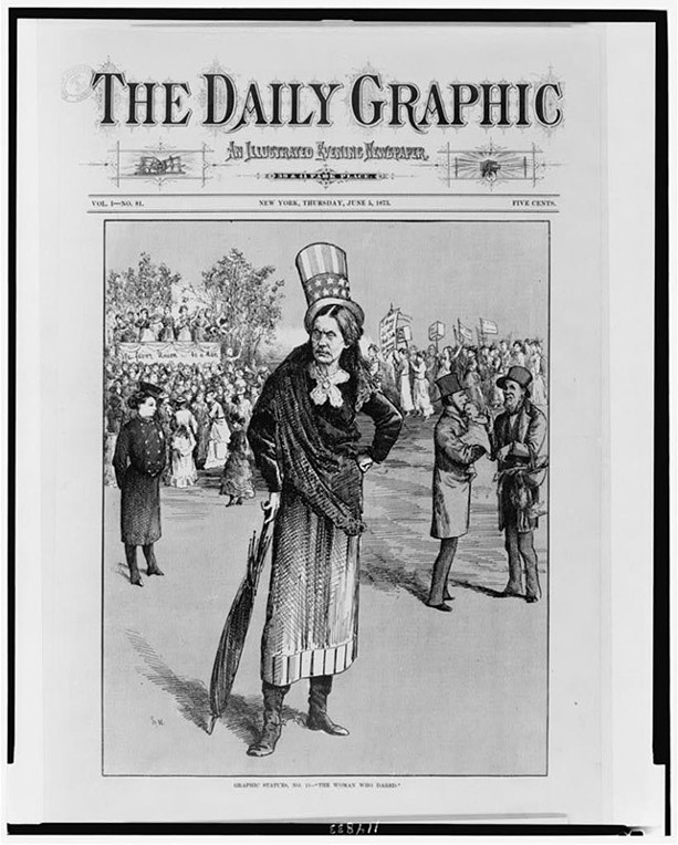 """""""The Woman Who Dared"""" appeared in The New York Daily Graphic in 1873 and depicted an artist's illustration of what would happen to society if women got the vote. Susan B. Anthony is characterized in the foreground. - PHOTO COURTESY OF THE SUSAN B. ANTHONY MUSEUM AND HOUSE"""