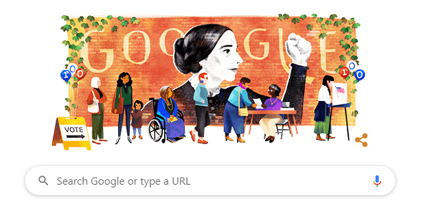 Google honored Susan B. Anthony's 200th birthday with a Google Doodle. - SCREEN SHOT OF A GOOGLE HOMEPAGE