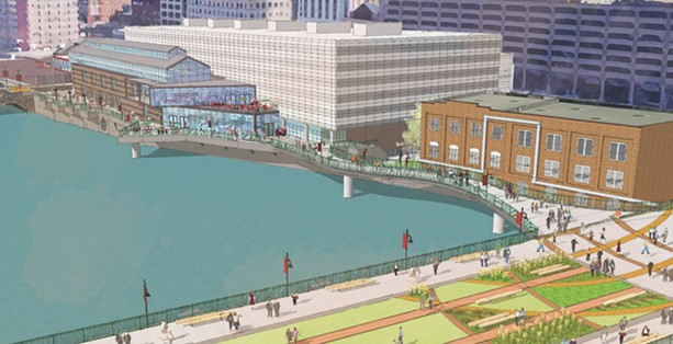A city rendering of the proposed south terrace at the Joseph A. Floreano Rochester Riverside Convention Center. - ILLUSTRATION COURTESY OF THE CITY OF ROCHESTER