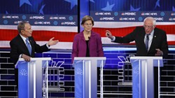 Former New York City Mayor Michael Bloomberg (left), Senator Elizabeth Warren and Senator Bernie Sanders participate in a Democratic presidential primary debate in Las Vegas on February 19, 2020. - JOHN LOCHER / AP