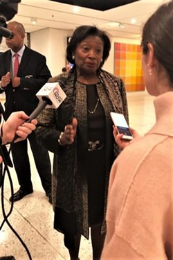 Senate Leader Andrea Stewart-Cousins speaking to reporters on February 27. - PHOTO BY KAREN DEWITT, WXXI NEWS