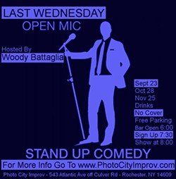 A CITY advertisement for a stand-up comedy open mic show hosted by Woody Battaglia. - FILE PHOTO