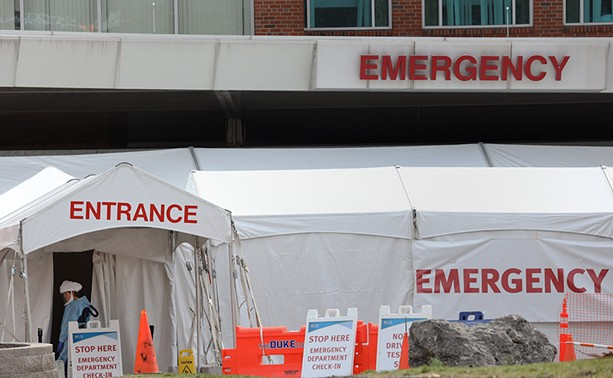 Strong Memorial Hospital has set up an emergency department check-in tent at the facility's entrance. - PHOTO BY MAX SCHULTE