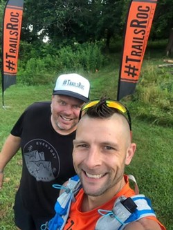 Eric Eagan, race director for the Virtual COVID-19 Miler, left, and Scott Parr, who had the idea for the virtual race. - PHOTO PROVIDED