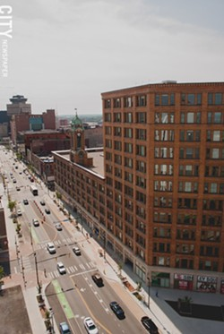 """Sibley Tower houses market-rate apartments, affordable units for older residents, and, under development, """"workforce"""" housing. - PHOTO BY RYAN WILLIAMSON"""