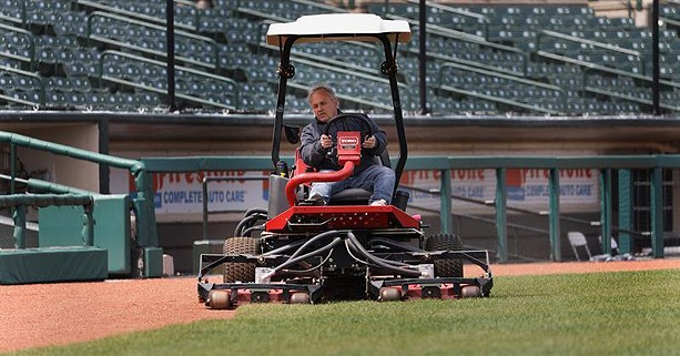Gene Buonomo trims the grass at Frontier Field on what would have been the morning of a Rochester Red Wings homestand against the Columbus Clippers on May 5, 2020. - PHOTO BY MAX SCHULTE
