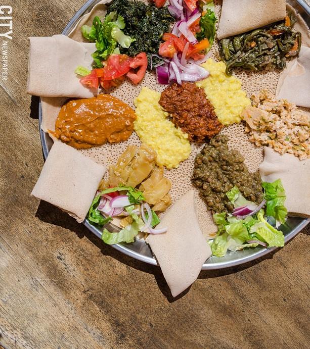 A vegetarian combination platter from Zemeta Ethiopian Restaurant. - FILE PHOTO