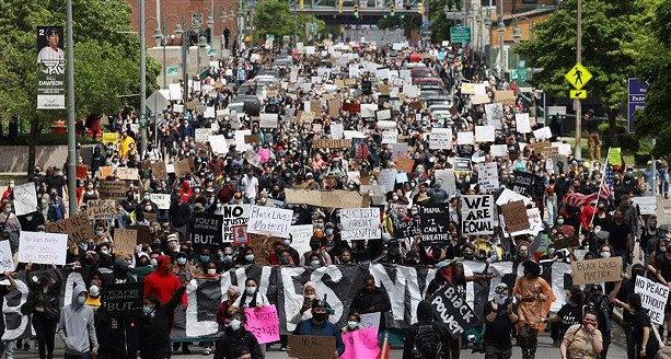 Protesters packed downtown Rochester for the May 30 Black Lives Matter demonstration. - FILE PHOTO BY MAX SCHULTE