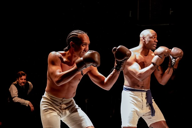 """Sean Meehan, DazMann Still, and Jamal James in """"The Royale."""" - PHOTO BY THERESA MOGIL"""