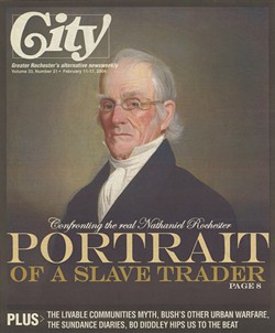 "The February 11, 2004 cover of CITY Newspaper featuring ""Portrait of a slave trader"" by Ron Netsky. - FILE PHOTO"