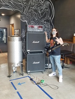 Undeath guitarist Kyle Beam, providing riffs for Nine Maidens' new beer. - PROVIDED PHOTO