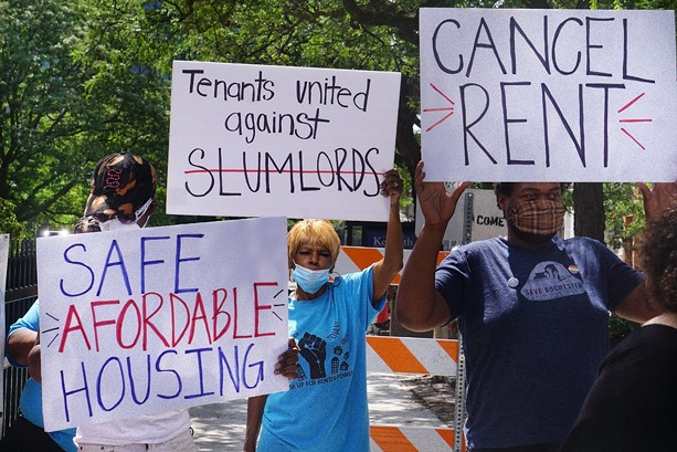 Protesters demanding rent relief outside the Kenneth B. Keating Federal Building on July 17. - PHOTO BY GINO FANELLI