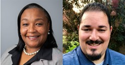 VOCAL NY's Kim Smith (left) and Ibero American Action League's Miguel Melendez (right) hope to replace Rochester City Councilmember Jackie Ortiz if she resigns later this month. - VIA WXXI NEWS