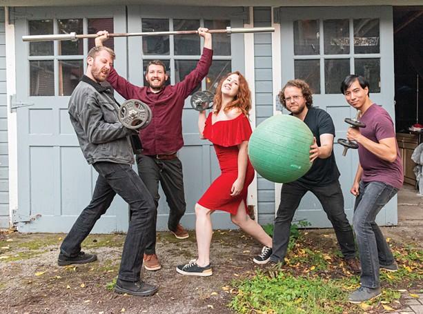 Bellwether Breaks is (left to right) drummer Dave Goebel, guitarist Peter Goebel, vocalist Elyse Coughlin, keyboardist Chris Coon, and bassist Eugene Bisdikian. - PHOTO BY JACOB WALSH