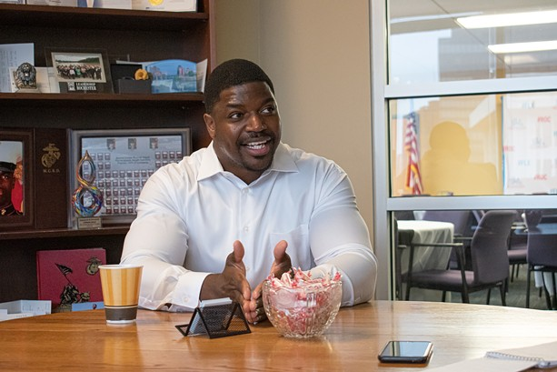 Adrian Hale, 31, an executive at the Greater Rochester Chamber of Commerce, is considered by many political observers to be a potential candidate for mayor in 2021. He says he currently has no plans to run. - PHOTO BY JACOB WALSH