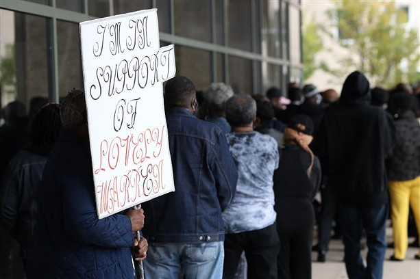 A throng of supporters of Mayor Lovely Warren outside the courthouse where she was arraigned on Oct. 5, 2020. - PHOTO BY MAX SCHULTE