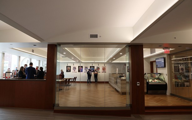 New amenities at  the George Eastman Museum include a meeting hall, a gift shop, galleries, and a café, seen here. - PHOTO BY MAX SCHULTE / WXXI NEWS