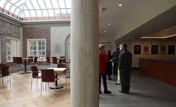The visitor center at the George Eastman Museum melds new construction and historical elements. - PHOTO BY MAX SCHULTE / WXXI NEWS